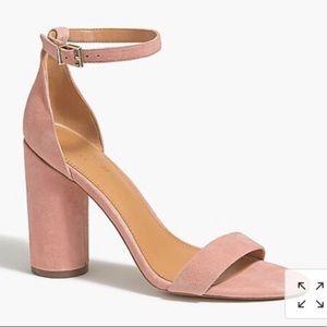 J. Crew Suede Chunky Block Heel Sandals sz 8 Pink